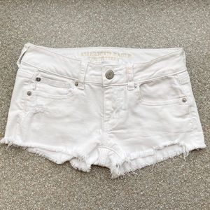 American Eagle White Jean Shorts  |  Size 0